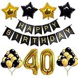 OSVINO クラシックゴールド ブラック 30歳 40歳 50歳 60歳 誕生日 誕生日 結婚式 記念日 パーティーデコレーションキット L-HBDECOR01-3
