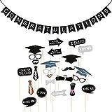 OULII 卒業写真ブース小道具&おめでとうバナー 卒業パーティー用品 24個