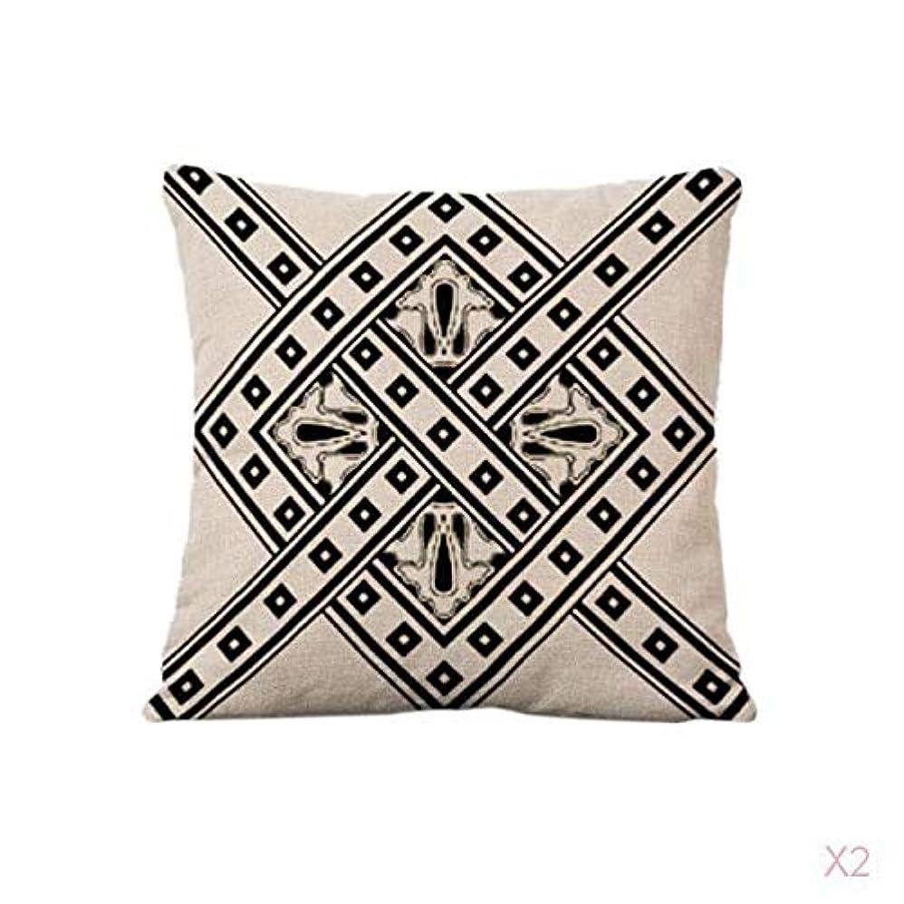 古くなった第五落ち着いてFLAMEER クッションカバー5色シンプルな幾何学模様のリネンソファー腰枕カバー