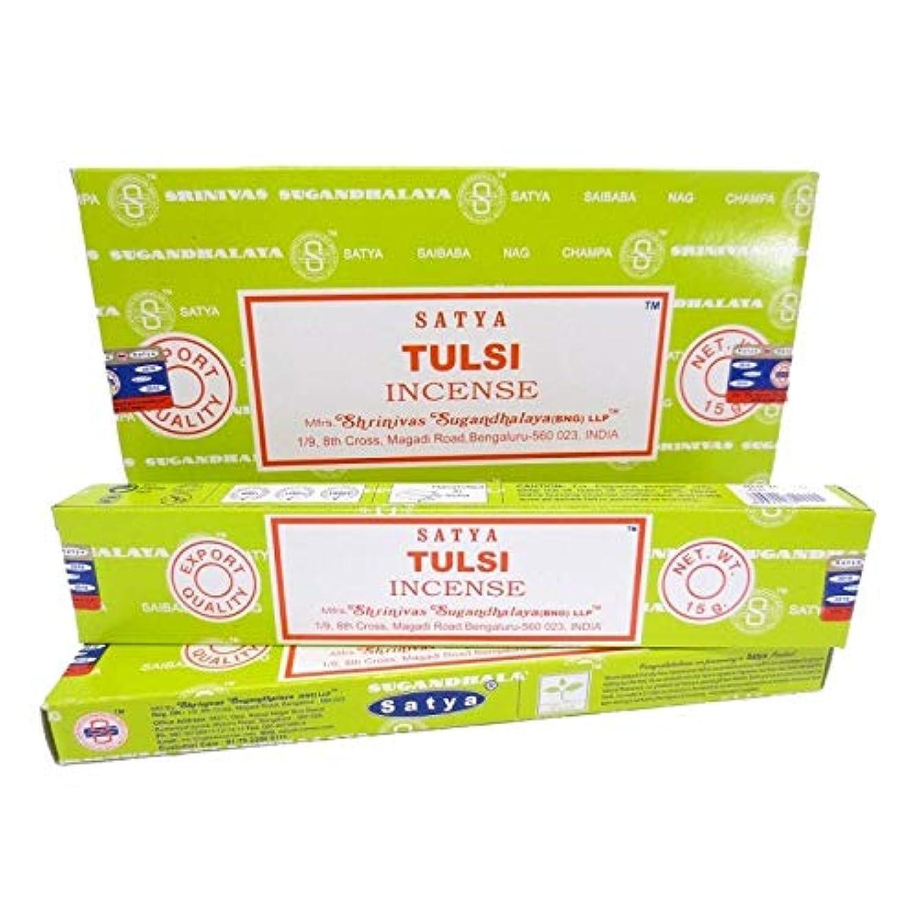 脚本家船形写真を撮るSatya Incense 1箱に12個の人気の香り - スティック(Tulsi)