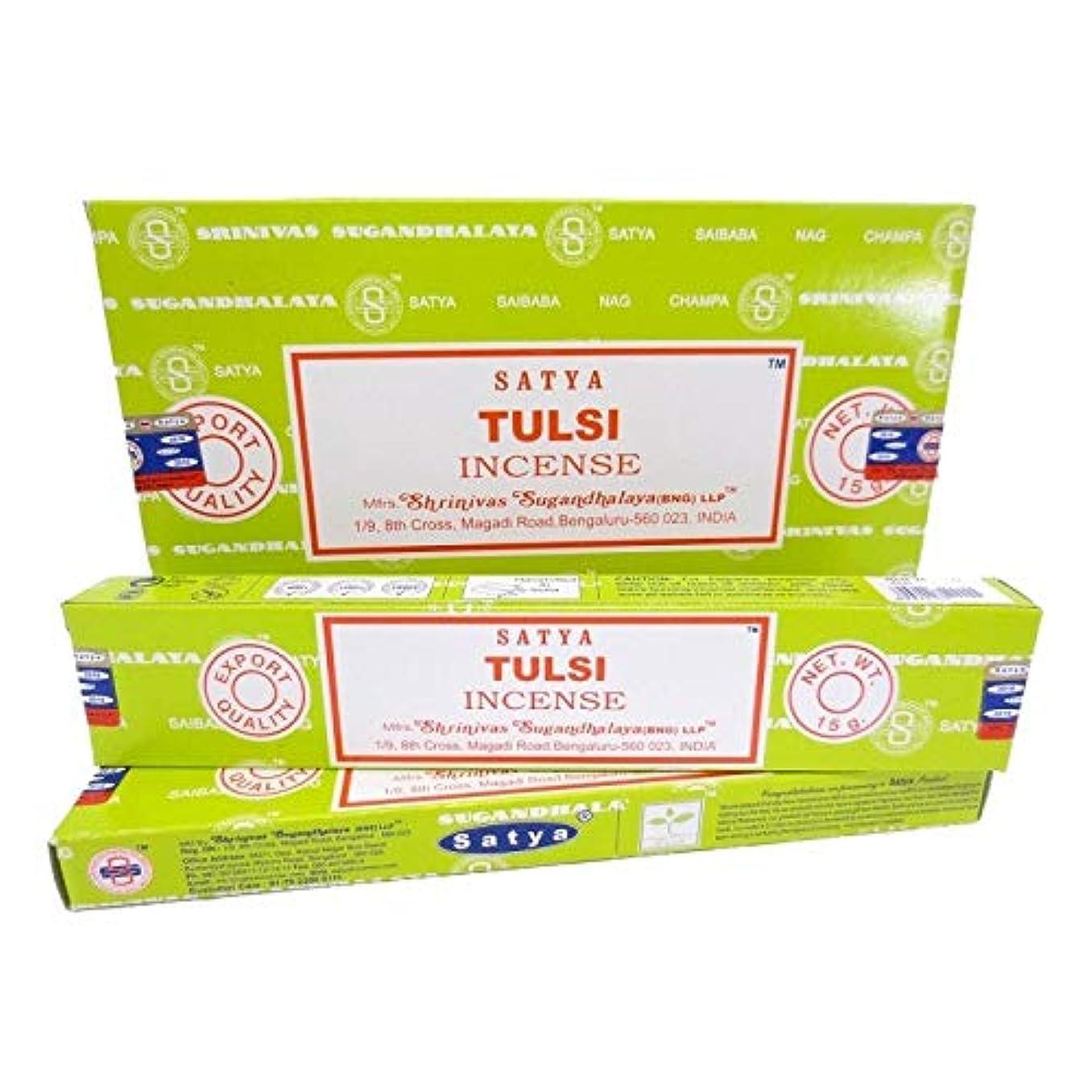 軽量きつく足枷Satya Incense 1箱に12個の人気の香り - スティック(Tulsi)