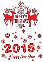 【3枚セット】 クリスマス 新年 雪の結晶 ウォールステッカー サンタクロース 雪だるま 子供部屋 インテリア トナカイ クリスマスツリー スノーマン お正月 剥がせる 壁紙 窓 ガラス ステッカー パーティー 赤