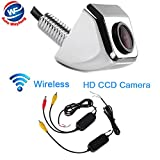 Auto Wayfeng WF® ワイヤレスカメラフロントビューカメラCCD 170度の角度バックアップ駐車カメラ、クロム