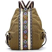 YUENA CARE Women Handmade Embroidery Canvas Backpack Daypack Vintage Boho Travel Shoulder Bag