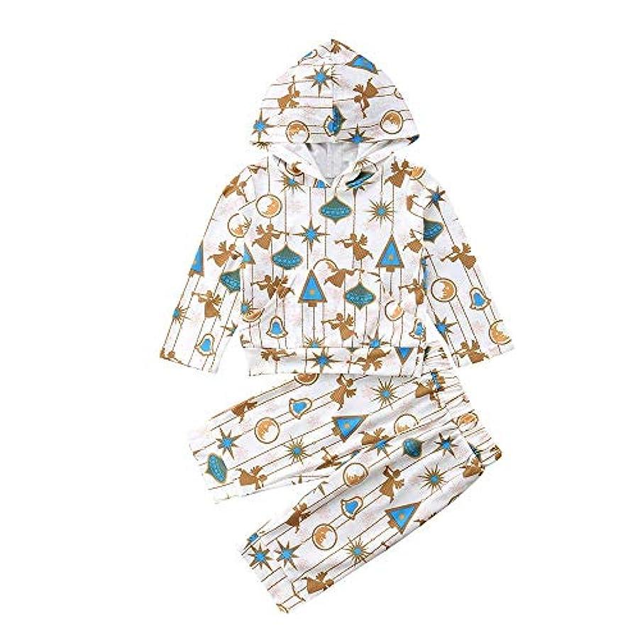 発掘するピルファー風景BHKK ベビーボーイズガールズロングスリーブエンジェルプリントトップス+パンツクリスマスコスチューム 12ヶ月 - 4 歳 18ヶ月