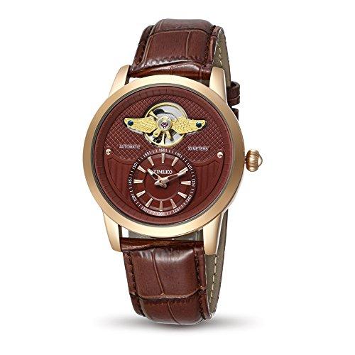 Time100 腕時計男性  アーミーシリーズ スケルトン 夜光付 ファッション オートマチック  機械式 本革 メンズ腕時計 #W70052G.03A (ローズゴールデン)