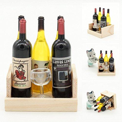 【Odoria ミニチュアのワイン】1/12 ワインボトル4本セット カップ付 木製ラック入り お酒 ドリンク ドールハウス 雜貨