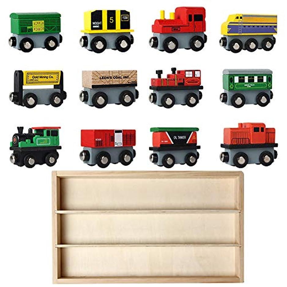 アクセル群がる不従順Pearrys 12 PCS木製の列車のセットトレインのおもちゃ子供のための磁気セットのおもちゃ幼児の男の子の女の子アーリーティーチングツール 12個のおもちゃ+1 *木製ボックス