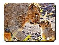 動物写真撮影、母ライオンとカブ パターンカスタムの マウスパッド 動物 (26cmx21cm)
