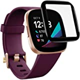[ 1 Pack ] for Fitbit Sense High Definition Anti Scratch Full Coverage Tempered Glass LCD Screen Protector Film Guard (1 Pack
