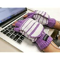 [Veroman] USB接続で加熱 あったか手袋 パソコン作業 PC (フィンガーカバータイプ パープル)