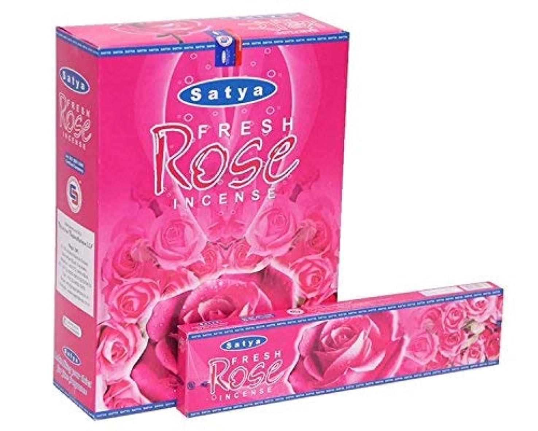 ゲートタイル悲劇Satya Fresh Rose Incense Sticks Agarbatti 240 Grams Box   12 Packs of 20 Grams in a Box   Export Quality
