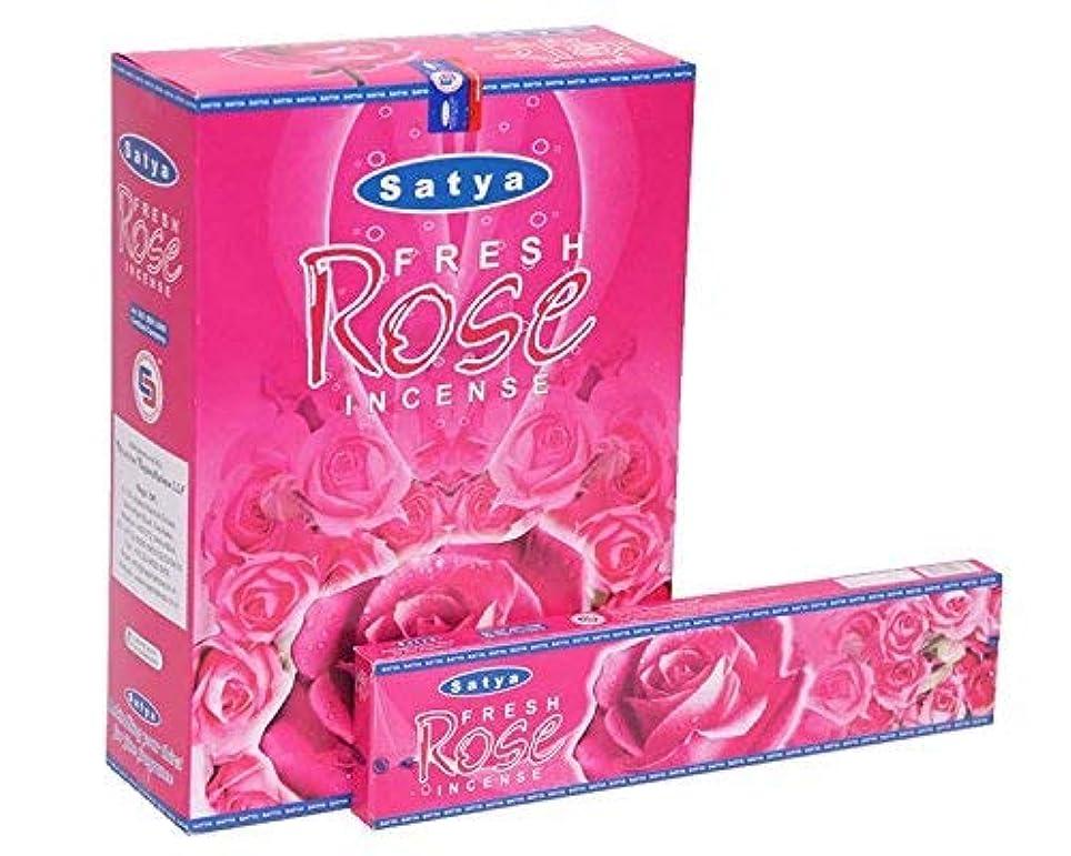 モナリザきしむ尾Satya Fresh Rose Incense Sticks Agarbatti 240 Grams Box | 12 Packs of 20 Grams in a Box | Export Quality