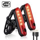 テールライト、Inspirebikeボックス2 PCS、超高輝度防水USB充電式自転車 テールライト、50ルーメンLED、安全なテールランプはロードバイク、ヘルメットに適応可能 (Red)