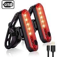 テールライト、Inspirebikeボックス2 PCS、超高輝度防水USB充電式自転車 テールライト、50ルーメンLED、安全なテールランプはロードバイク、ヘルメットに適応可能
