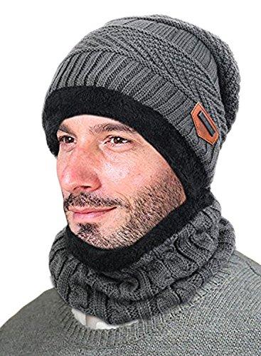 Lalaly ニット帽 ビーニー伸縮性のより厚い 裏起毛 人工フリースライニングある ケーブル編み ボンボン付 ニット帽 ニットワッチ 男女兼用 (灰色)
