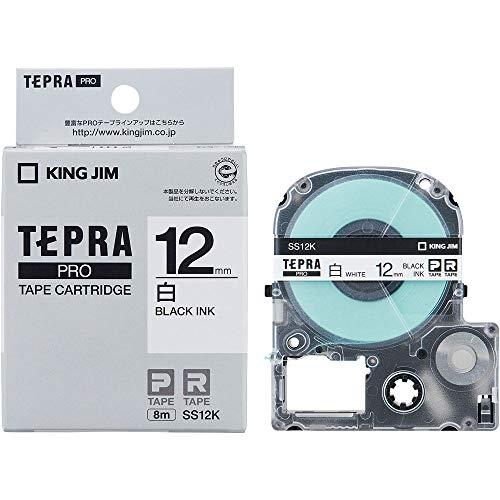 KING JIM Proテープカートリッジ 白ラベル 12mm SS12K