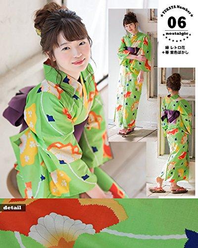 [京都きもの町]レディース浴衣2点セット3,980円全16柄と帯の2点セットF06緑レトロ花+帯紫