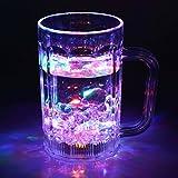 「LEDセンサーネオングラス 飲み物を注ぐとLED内蔵のグラスがレインボーカラーに点滅!光る グラス コップ / 誕生日 / 結婚式の2次会 / パーティー / ハロウィン / クリスマス / 歓迎会 / などのイベントにも!! (ジョッキグラス)」の画像