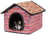PetStyle 屋内用ペットハウス 小屋型 室内 おしゃれで巨大なハウス (ブラウンレンガ, M)