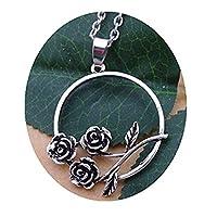 シルバーローズネックレス 毎日、ネックレス、シンプルネックレス 上品なネックレス