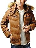 リ.エーピー (Re-AP) 湿式PU レザージャケット 中綿ジャケット ダウンジャケット メンズ (キャメル, XL)