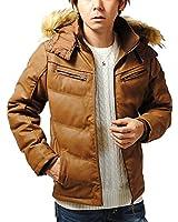 リ.エーピー (Re-AP) 湿式PU レザージャケット 中綿ジャケット ダウンジャケット メンズ (キャメル, L)