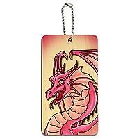 ドラゴンハッピーピンク - 可愛いファンタジーウッドIDカード荷物タグ