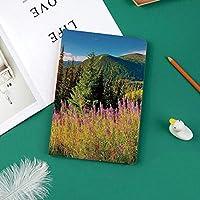 おしゃれな新しい ipad pro 11 2018 ケース スリムフィット シンプル 高級品質 手帳型 スエード柔らかな内側 スタンド機能 保護ケース オートスリープ 花と山の秋の風景写真高山木日の出森