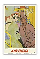 パリ、フランス - 「ムーランルージュのイギリス人」にインド航空のマハラジャが紛れ込む - ロートレックさん、ごめんなさい - エアインディアインターナショナル - ビンテージな航空会社のポスター c.1966 - アートポスター - 33cm x 48cm