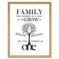 Family Roots B&W Heart Tree Grow Quote Motivation Typography Art Framed Wall Art Print 家族心臓木見積もり動機タイポグラフィ壁