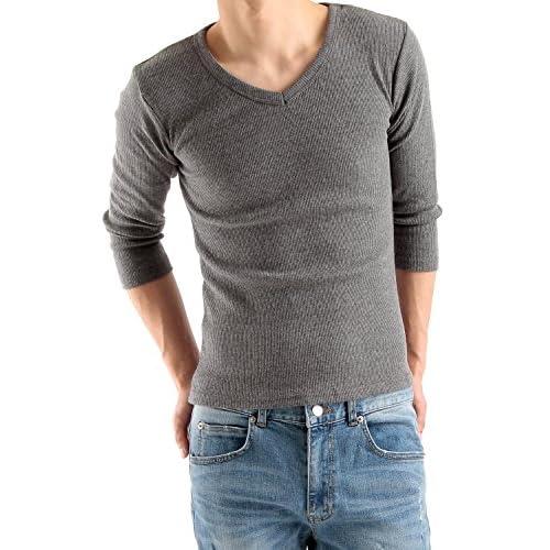 (ラフタス)Rafftas 無地 Vネック 7分袖 テレコ カットソー L サイズ チャコール 秋用 冬用 Tシャツ メンズ インナー