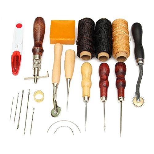 Drillpro DIY 手作り裁縫 レザーツール セット レザークラフト 皮革 工具?14点セット
