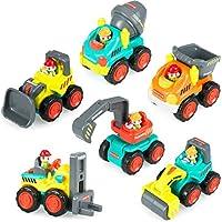 ベビーおもちゃPush and Go Friction Powered Car Toysポケット車のベビー幼児おもちゃ、スライド、セメントミキサー、Dumper、フォークリフトブルドーザー、掘削and Road Rollerのセット6 3年に1年古い古い