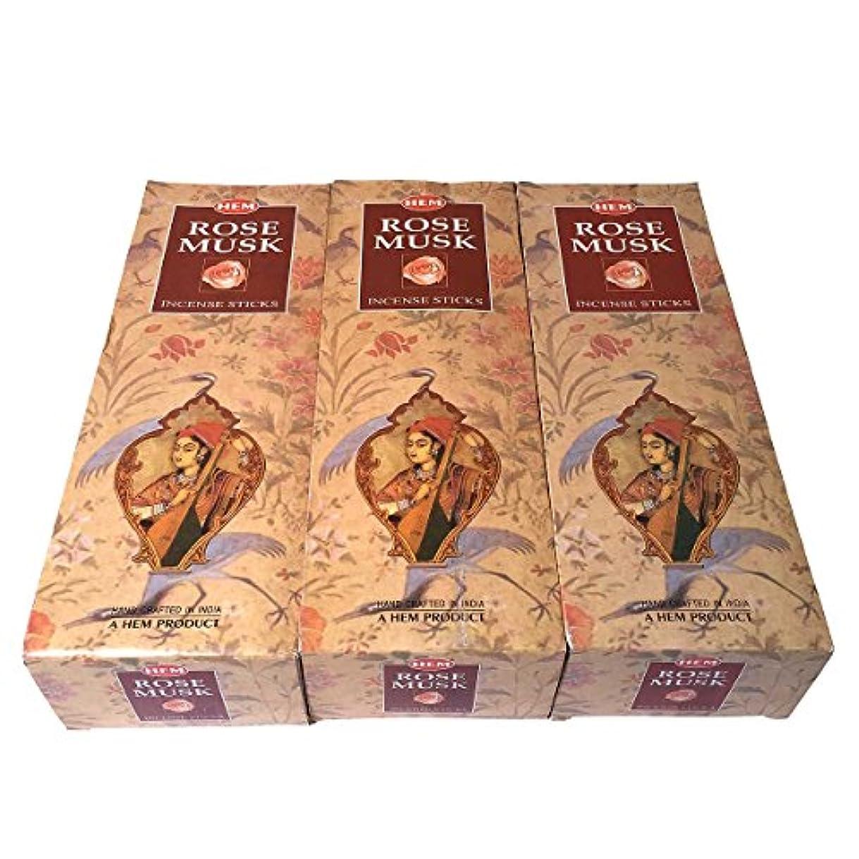 むしろ抱擁いつもローズムスク香スティック 3BOX(18箱) /HEM ROSE MUSK/インセンス/インド香 お香 [並行輸入品]