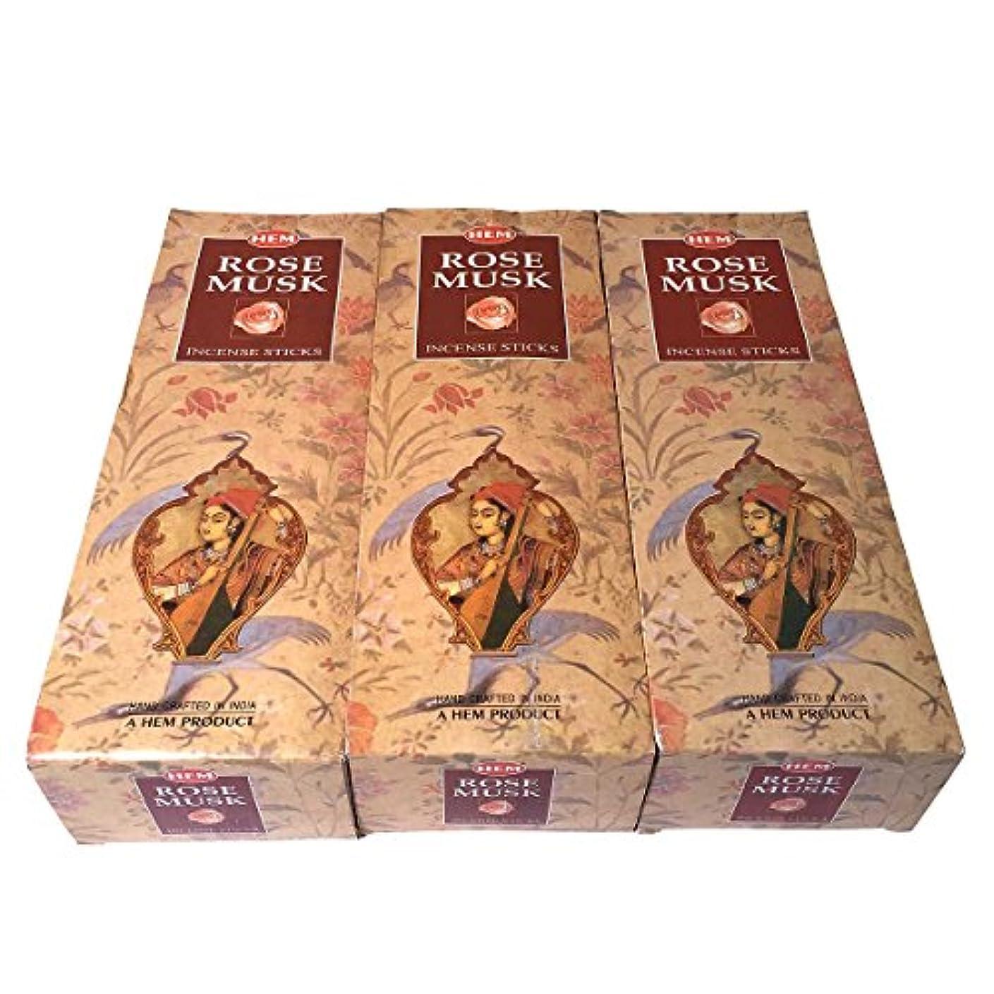畝間ケープそこからローズムスク香スティック 3BOX(18箱) /HEM ROSE MUSK/インセンス/インド香 お香 [並行輸入品]