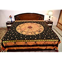 (Brown) - Sarjana Handicrafts King Size Cotton Fitted Bed Sheet Zodiac Horoscope Bedspread Bedding (Brown)