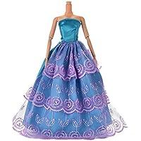 1pcs美しいウェディングドレスブルーとパープルネット糸ドレスClothes for人形