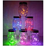 6 Pack Mason Jar Lights, 10 LED Solar Multi-Colored Fairy String Lights Lids Insert for Garden Deck Patio Party Wedding Decor