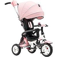乳母車 折り畳み式の子供三輪車の自転車インフレータブルの赤ちゃんのトロリー赤ちゃんの自転車のベビーカー 使いやすい (色 : Pink)