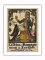 ブルゴーニュワイン、フランス - ワインメーカーHenri deBah?zre - ビンテージな広告ポスター によって作成された ガイ・アルヌー c.1916 -プレミアム290gsmジークレーアートプリント - 46cm x 61cm