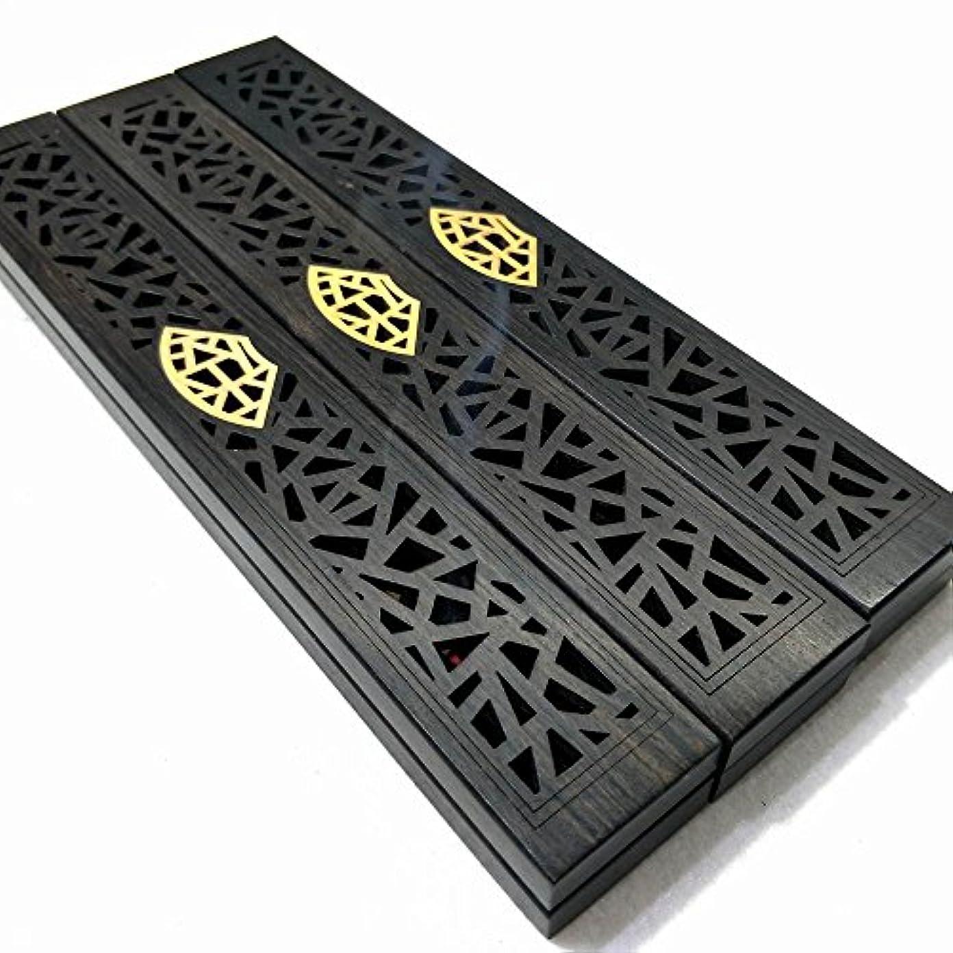 誇張現代の長方形黒檀はめ柘植線香合、ホームの茶道を炉 (せんす)