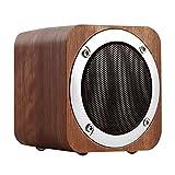ELEGIANT ポータブルワイヤレスbluetoothスピーカー木製無線スピーカー  ミニデスクワイヤレススピーカー FMラジオ、AUX、TFカードをサポート。携帯対応 Walnut