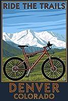 デンバー、コロラド–Mountain Bikeシーン 12 x 18 Art Print LANT-40592-12x18