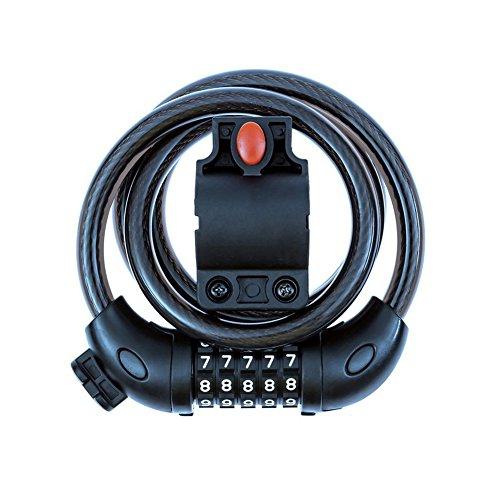 Teyimo 自転車ロック ダイヤル 5桁 ワイヤーロック バイク 盗難防止 ロードバイク 鍵 ケーブルロック ブラケット付属 (ブラック)