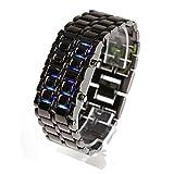 メタルバングルLED腕時計 メンズ (ブラック&ブルー)