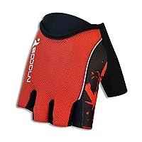 バイクグローブ サイクリング手袋 ライディンググローブ 自転車 ハーフフィンガー 三次元デザイン シリコーン 自転車のアクセサリー アウトドアスポーツ 男女兼用 三色選択 (レッド, M)