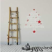 Onlymygodウォールステッカークリスマスツリークリスマススター人ガラス窓リビングルームソファ背景壁の装飾壁ステッカー53×47センチ