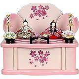 雛人形 収納飾り ピンク 幼雛 ひな人形 お雛様 初節句飾り お祝い 親王飾り 2人 平飾り 収納式 かわいい 小さい