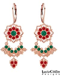 24K Pink Gold over .925 Sterling Silver Chandelier Earrings by Lucia Costin with Green, Red Swarovski Crystals...